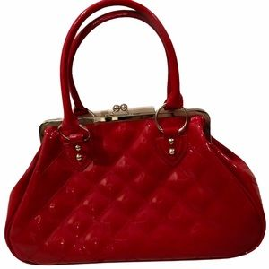 LUX DE VILLE vintage inspired Red quilted purse